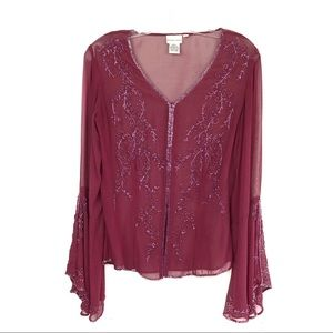 Newport News Silk blouse flared sleeves
